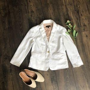 Ann Taylor Petite Piped Tweed White Blazer